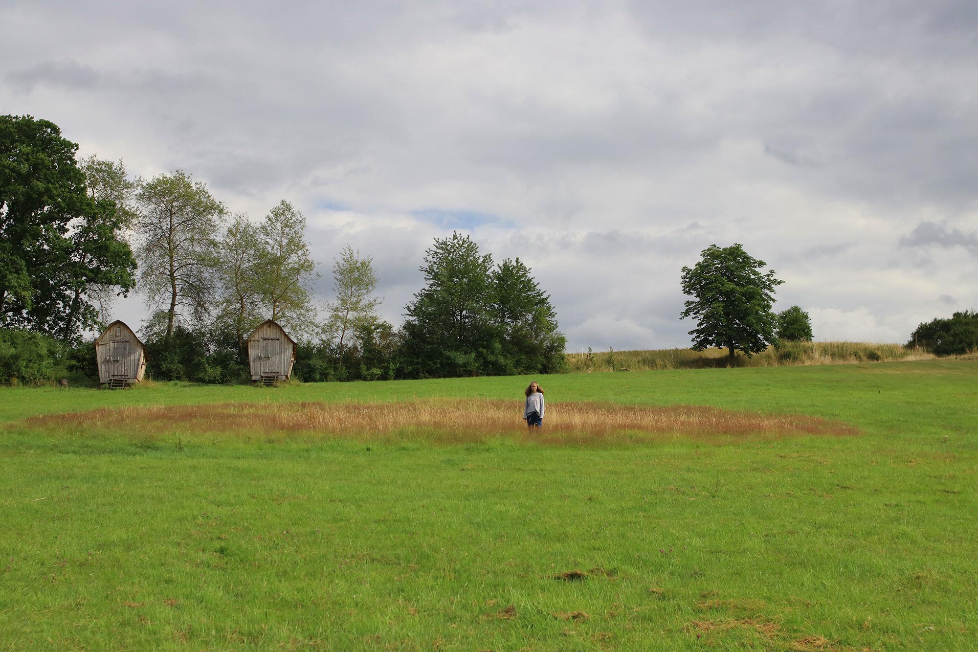 Ein Mädchen steht auf einer Wiese